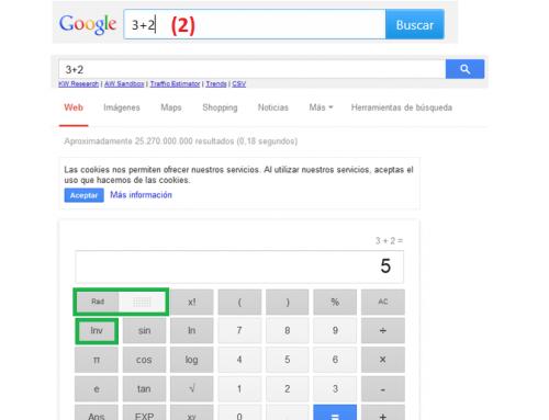 Calculadora científica con Google