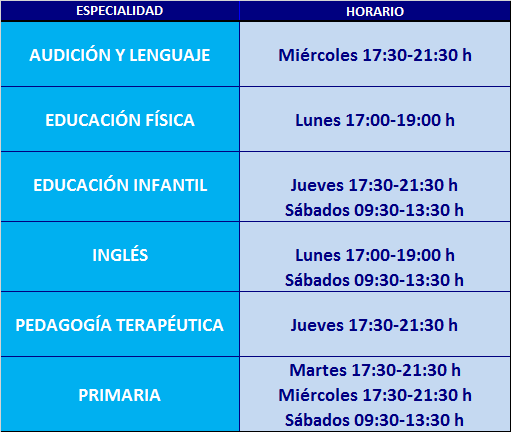Horarios maestros 2015