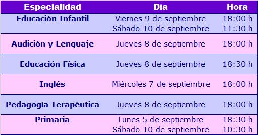 Horarios reuniones maestros 2016-17