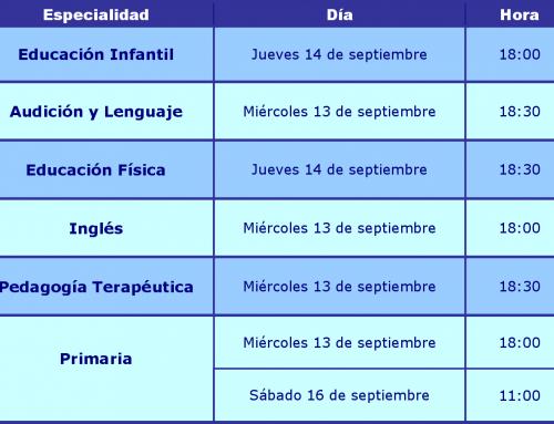 Horarios reuniones informativas oposiciones educación 2017-18